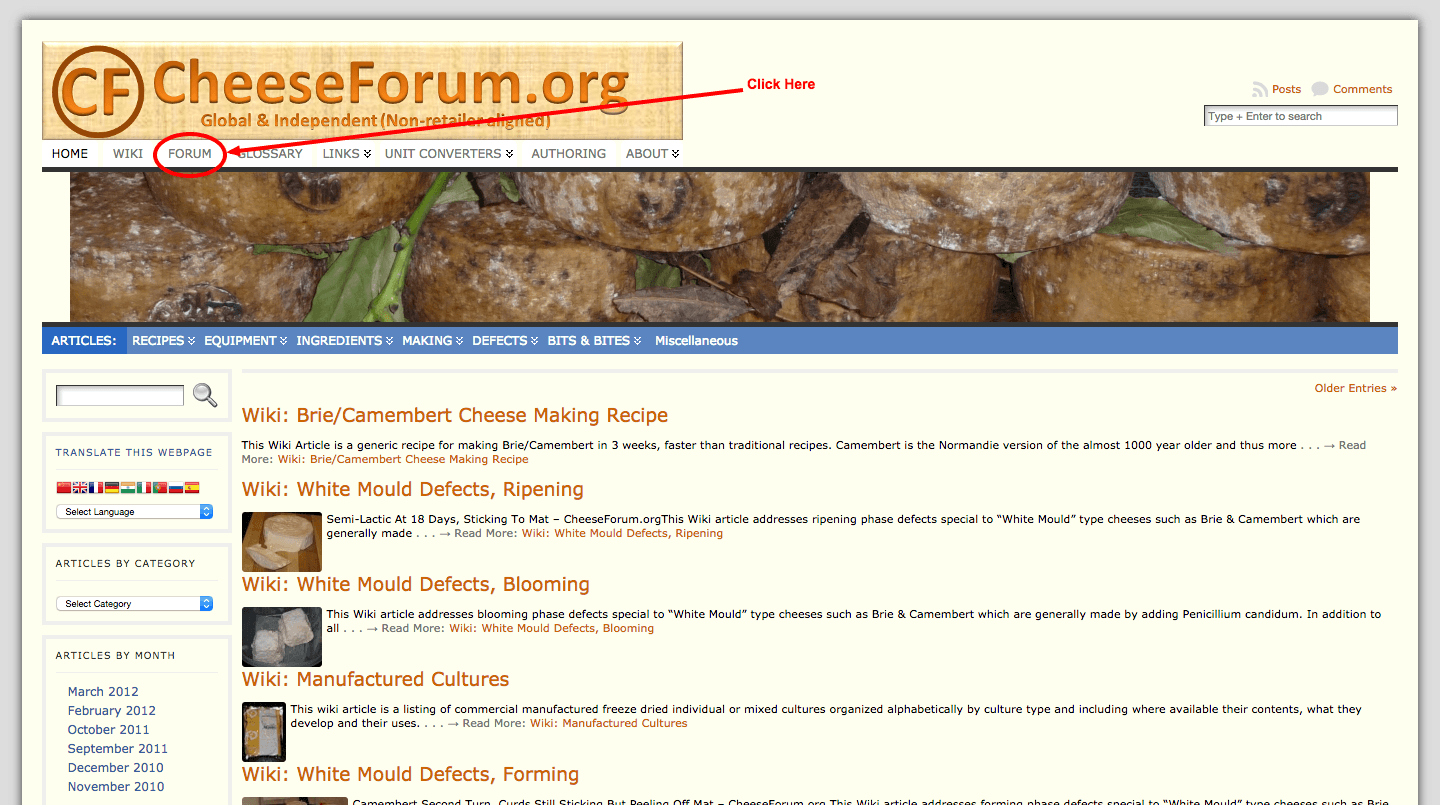 Cheese Forum landing page