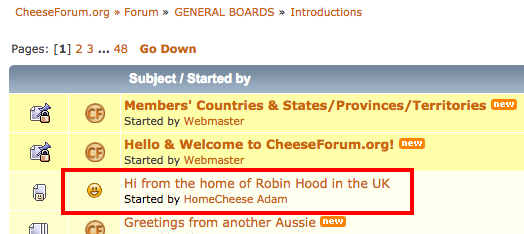 How to find your first post on the cheese forum
