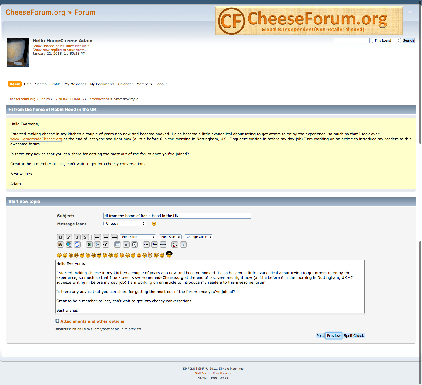 How to write a post on the cheese forum