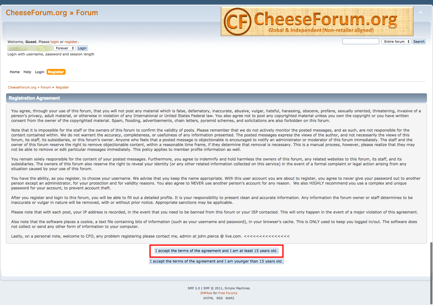 Cheese forum user agreement