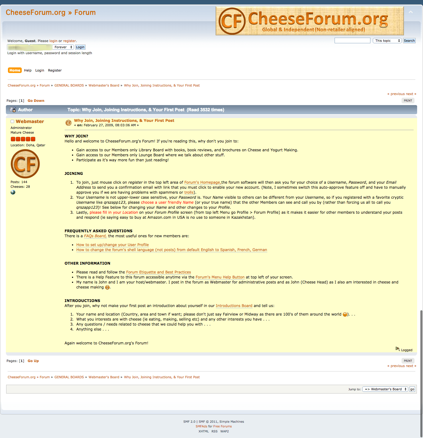 why join the cheese forum