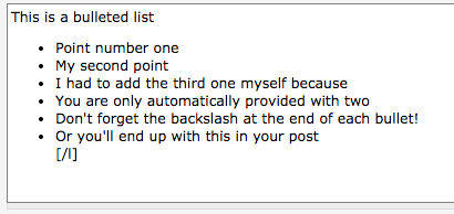 A finished bulleted list in a cheese forum post